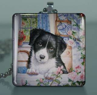 Sweet Border COLLIE PUPPY Dog~Large Square Glass Tile Pendant Art