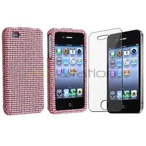 Pink Rhinestone Bling Diamond Case Cover+Screen Film for iPhone OS 4 G