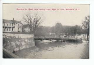 Island Park Entrance Flood Postcard Wellsville NY Old Vintage Allegany