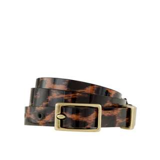 Patent leather belt in leopard   belts   Womens accessories   J.Crew