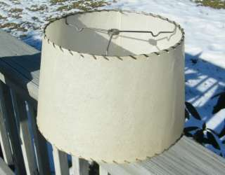 VINTAGE OLD ANTIQUE LEATHER LACED FIBERGLASS LAMP SHADE