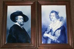 Pair Of Dutch Delft porcelain Rubens portrait plaques