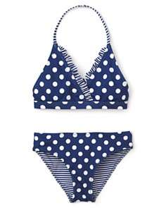 Aqua Girls Ruffle Trim Halter Top & Reversible Bottom   Sizes 7 16