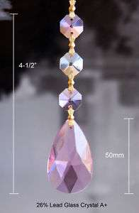 12 x PINK LEAD CRYSTAL ANGEL TEAR CHANDELIER PRISMS