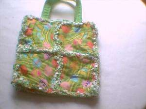 Toddler little girl rag quilt bag purse Easter Eggs gr