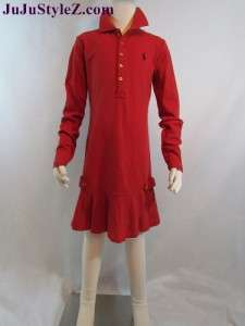 Long Sleeve  Dress on Ralph Lauren Polo Kids Wear Girls Long Sleeve Dress Red  Navy Blue Nwt