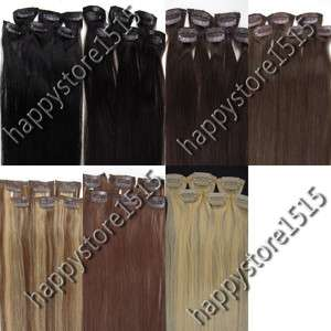 6Pcs Clips On Asion 100% Real human Hair Extensions7colors&36g New