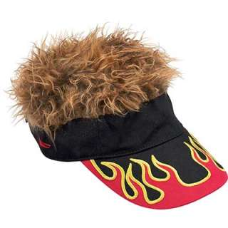 Flair Hair Visor Hat Golf Brown Flame New Wig Cap Fake