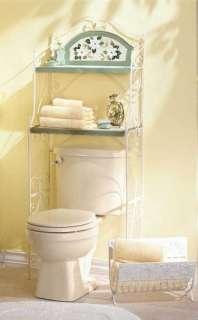 Magnolia Bathroom behind toilet shelf unit metal