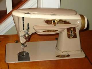 Slant O Matic Twin Needle ZIG ZAG/LEATHER Sewing Machine+ Cabinet NR