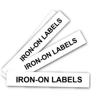 100 PACK CUSTOM IRON ON LABELS FOR CLOTHES   BLACK INK