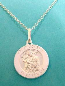 Sterling Silver Saint Joseph Charm Pendant Necklace 18