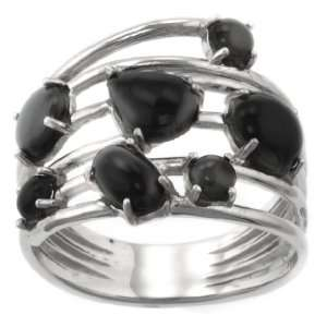 Sterling Silver Onyx Multi Stone Ring, Size 9 Jewelry