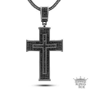 Mens Hip Hop Black Out Micro Pave Inner Cross Pendant