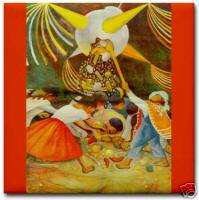 Diego Rivera Mexican Art Ceramic Tile Children & Pinata