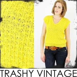 vtg 80s boho MUSTARD sheer OPEN KNIT crochet SLEEVELESS sweater jumper