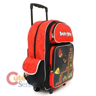 Angry Birds 3D School Roller Backpack 16 Large Luggage Rolling with