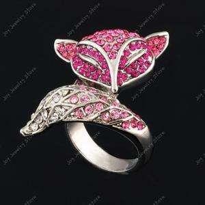 Lovely pink fox Swarovski crystal jewelry ring size 8