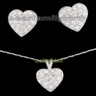 18K gold Gp Swarovski Crystal heart jewelry set 670