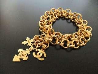 Authentic Chanel Vintage gold CC 3 pendants belt necklace large
