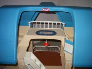Vintage 1980s Little Tikes Blue Roof Doll House w/ People Pets and