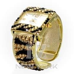 NEW Womens Gold Swarovski Rhinestone Zebra Print Watch