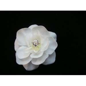 NEW Small White Gardenia with Rhinestone Hair Clip for Sarah, Limited.