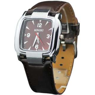 Hot Selling Square Face Style Mens Boys Leatheroid Quartz Wrist Watch