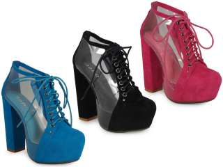 CLEAR SUEDE LACE UP PLATFORM HIGH BLOCK HEEL SHOES BOOTS 3 8