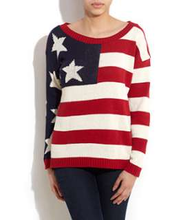null (Multi Col) Cameo Rose USA Flag Jumper  255822399  New Look