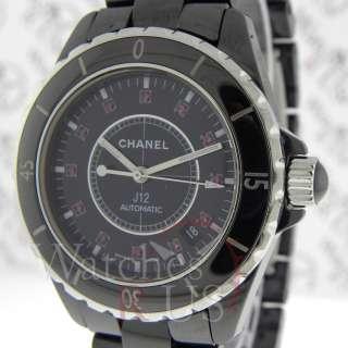 Chanel Black J12 Large Size H1635 Ceramic Ruby Dial 38mm