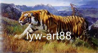 ORIGINAL WILDLIFE ANIMAL ART OIL PAINTING PORTRAIT TIGER