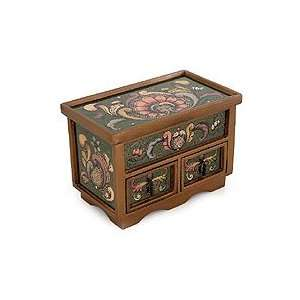 NOVICA Painted glass chest of drawers, Jade Majesty