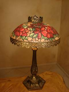 FINE OLD FRENCH BRASS & HAND PAINTED GLASS LAMP