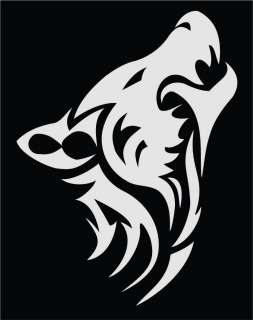 Tribal Wolf Vinyl Die Cut Decal   18 colors