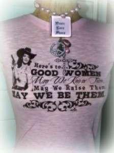 COWGIRL HERES TO GOOD WOMEN RHINESTONE PINK S/S SHIRT