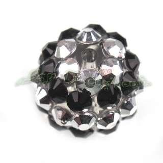 20x Wholesale Fashion Charms Black White Resin Rhinestone Beads 14mm