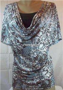 Brittany Black Womens Plus Size Clothing Gray Brown Drape Shirt Top