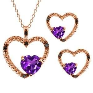 Shape Purple Amethyst 14k Rose Gold Pendant Earrings Set Jewelry