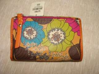 New Fossil Leather Multi Floral Weekender Tri Fold Retro Wallet Women