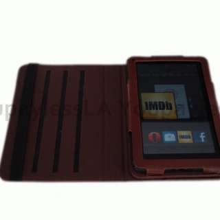 Brown Kindle Fire Leather protective case 360 degree rotation