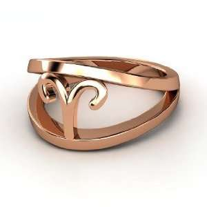 Aries Zodiac Ring, 14K Rose Gold Ring Jewelry
