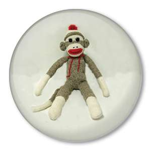 CLASSIC SOCK MONKEY DOLL picture pin button badge cute