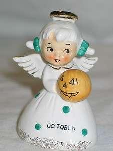 Vintage Norcrest Ceramic October Angel Month Birthday Bell 1950s