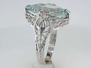 Vintage Antique 2ct Aquamarine 14K White Gold Filigree Engagement Ring