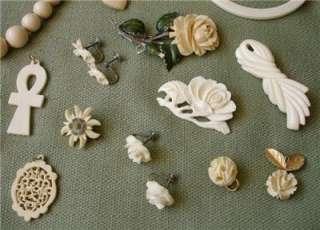 Ivory & Ox Bone Pendants, Earrings, Necklaces, Bracelets & Pins