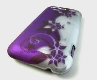 PURPLE SILVER VINE HARD SNAP ON CASE COVER VERIZON HTC RHYME PHONE