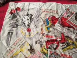 SOUVENIR SCARF SPANISH OR MEXICO BULLFIGHTING POSTERS BULL FIGHT