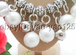 Excellent 20MM White Sea Shell Pearl&Crystal Necklace