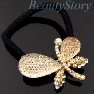 SHIPPING rhinestone crystal butterfly hair scrunchie ponytail